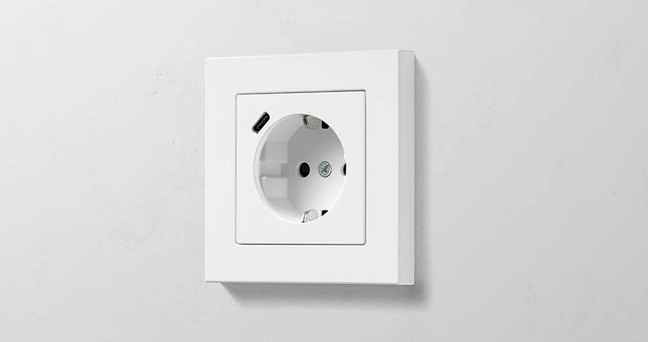 розетки с USB зарядкой Jung A550 матовый белый